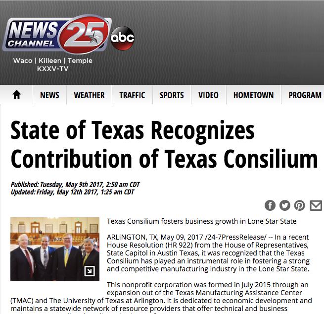 State of Texas Recognizes Contribution of Texas Consilium
