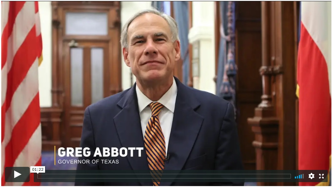 Texas Governor Greg Abbott recognizes Jerry Jones and the Texas Consilium.  Texas Consilium Business Excellence Award presentation May 13, 2019.